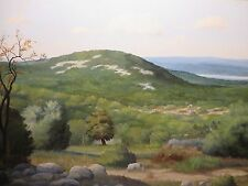 """24x36 org.1970 oil painting on canvas Manuel Garza """"The homestead from the Hill"""""""