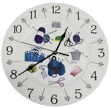 "Knitting  design 11"" large ceramic  wall clock - boxed wool needles knit"