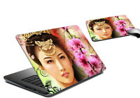 Lady Floral Laptop Skin And Mouse Pad Protective Notebook Cover Sticker Decal