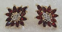 Gilt metal & red stone vintage Art Deco antique pair of earrings