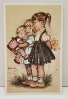 "Alfred Mainzer ""DARLING GIRLS"" with Flower Bouquet Unused Postcard H20"