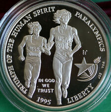 1995 Olympics Paralympics Blind Runner 90% Silver Dollar Commem Proof Coin ONLY