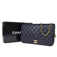 Authentic CHANEL CC Logo Chain Shoulder Bag Leather Navy Blue Vintage 44EY813