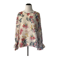 LOFT Small Long Sleeve Blouse Cream Pink Green Floral Shiny Shimmer NWT