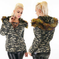 Mega Femmes Court Parka Manteau Veste Fourrure Teddyfell Camouflage Armée Vert