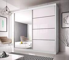 BRAND NEW MODERN BEDROOM SLIDING DOOR WARDROBE 6ft (183cm) - WHITE & MIRROR F35