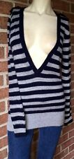 River Island Deep V Metallic Striped Pullover Angora Sweater Navy Blue Silver S