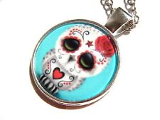 CUTE SUGAR SKULL BABY OWL PENDANT day of the dead necklace kawaii goth silver E1