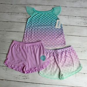 Carter's Girl 3 Piece Shortie Pajama Set Size 4T Mermaid