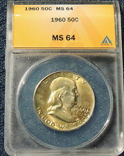1960 ANACS MS 64 Franklin Half~~Wholesale Priced BELOW Trends~~Nice Type Coin