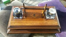 ANTIQUE DESK INKWELL AND PEN REST STAND