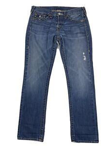 True Religion Jordan Distressed Straight Jeans Flap Pockets Button Fly Womens 30