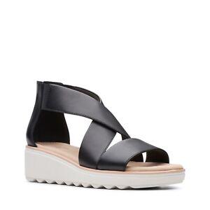 BNIB Clarks Ladies Jillian Rise Black Leather Wedged Sandals