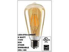 Vintage Retro Loft Edison Filament LED ST64 6 watt Medium Base Bulb Amber-FS
