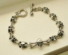 """link bracelet 9.5"""" free shipping 14mm stainless steel men's/ women's skull"""