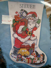 Christmas Bucilla Stamped Cross Stitch Stocking KIT,DOWN THE CHIMNEY,83053,18""