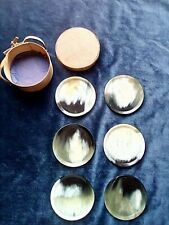 Vintage Horn Beverage Coasters in Wooden Band Box Leather Strap Brass Brads