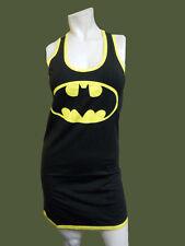 NEW ladies Dc Comics BATMAN BATGIRL fitted Black Tank Sleeveless DRESS - Med M