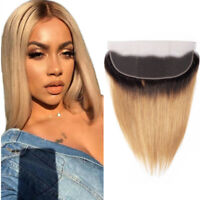 Blonde Lace Frontal Closure Ombre Red Straight remy Human Hair 13*4 Lace Frontal