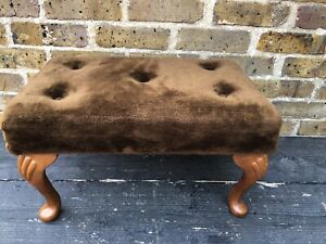 Vintage Brown Velour Button Top Padded Foot Stool