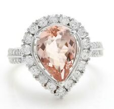 3.50 Carat Natural Morganite and Diamonds in 14K Solid White Gold Women Ring