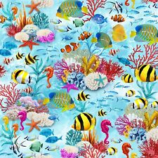 Fabric Fish Under the Sea Timeless Treasures 1/4 Yard C7960
