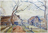 Emil Krcha: Rural Landscape 1940s/ Polish Post-Impressionism Zwornik Group S/Oil