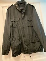 MENS BLACK FRENCH CONNECTION JACKET COAT WITH HOOD SIZE MEDIUM GREAT CONDITION