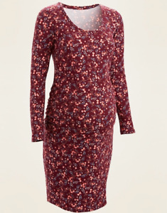 NEW Old Navy Maternity Maroon Floral Stretch Jersey Dress Large L