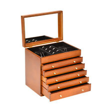 Wooden Jewellery Box brown wood storage display case ring jewelry organizers