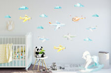Airplane Clouds Kid Wall Stickers Removable Nursery Decal Art Mural Decor Gift