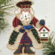 Bluebird Santa Beaded Cross Stitch Kit Mill Hill 2003 Alpine Santas