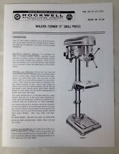 Rockwell Walker Turner 17 Drill Press Instruction Manual Amp Parts List