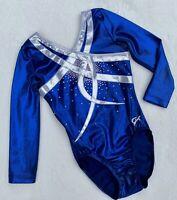 GK ELITE Competition LEOTARD gymnastics SWAROVSKI Rhinestone BLING Blue Size: AS