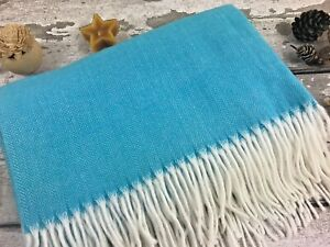 Luxury Throw Blanket Sofa Bed Cover Soft Blue Fringed Lightweight Warm Over Knee
