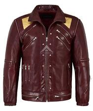BEAT IT Men's Real Leather Jacket Cherry Gold Glaze Michael Jackson MUSIC Style