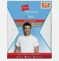 Hanes Premium Men's 3pk Xtemp Crew Neck T-Shirt Undershirt - White S