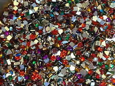 1000 Mixed Shapes & Colour Rhinestones Nail Art Decoration Craft  2-3mm