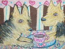 Australian Terrier Drinking Coffee Original Painting 9x12 Vintage Style Dog Art