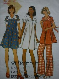 VINTAGE 1970'S SIMPLICITY MATERNITY SMOCK DRESSES & TROUSERS SEWING PATTERN