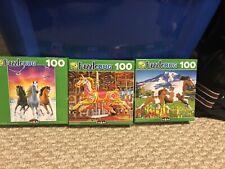X3 New Puzzlebug 100 Piece Jigsaw Puzzles Horses Animals