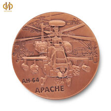US Army AH-64 APACHE Helicopter Military Challenge Brass Plated Coin Collection