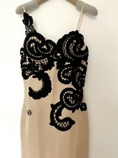 Vintage Thierry Mugler Evening Dress Gown, Nude With Black Lace, Size M