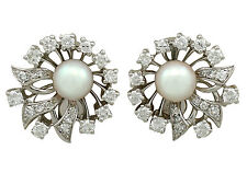 Vintage Cultured Pearl and 1.22 ct Diamond, 18k White Gold Clip On Earrings