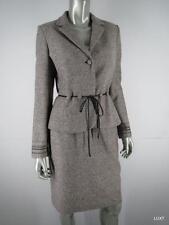a05b8370dc4b Kay Unger Skirt Suit Jacket Blazer $540 Sz 6 S Brown Metallic Tweed Leather  Trim