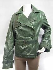 Ladies Green Glaze Leather Slim Tight Fitted Button Biker Fashions Jacket Bike