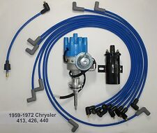 CHRYSLER 440 59-72 BLUE Small Female HEI Distributor+Black Coil+Spark Plug Wires