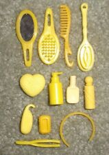 BARBIE DOLL CLOTHES ACCESSORIES - 12pc YELLOW COSMETIC HAIR MAKE-UP SET