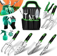 Garden Tools Set 10 Pieces, Gardening Kit Gifts with Heavy Duty Aluminum Hand