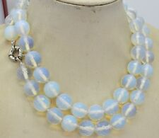 Natural 10mm White Moonstone Faceted RoundGemstone Beads Necklace 36inch